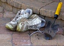 Gardening Shoes and Spade Stock Photos