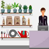 Gardening shop. Flower shop interior. Woman seller behind the counter. Houseplants on shelves, tools for gardening, potting soil, vector illustration