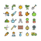 Gardening Signs Color Thin Line Icon Set. Vector Royalty Free Stock Photos