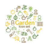 Gardening Signs Round Design Template Line Icon Concept. Vector Stock Image