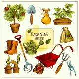 Gardening Sketch Set Colored. Gardening tools sketch set colored with shovel spray rubber boots isolated vector illustration Royalty Free Stock Images