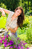 Gardening smiling woman watering can violet flower Stock Photos