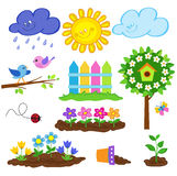 Gardening spring cute icon set. Vector illustration. Royalty Free Stock Photos
