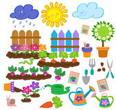 Gardening spring cute  icon set Stock Photo
