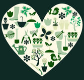 Gardening and spring symbols filled heart- Illustr Royalty Free Stock Photo