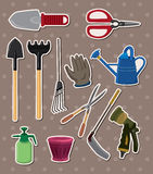 Gardening stickers. Cartoon vector illustration Stock Photography