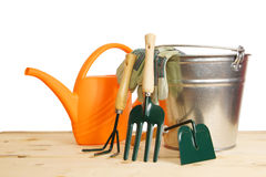 Gardening still life with various tools over white Stock Image