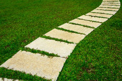 Gardening stone footpath with grass Royalty Free Stock Photo