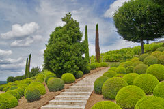Gardening stone staircase in a park of Amboise castle. France Royalty Free Stock Photography