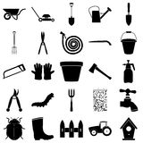 Gardening stuff tools simple icon on colorful background Stock Photos