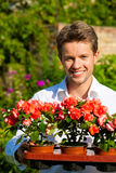 Gardening in summer - man with flowers Royalty Free Stock Photo