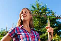 Gardening in summer - woman with grate. Gardening in summer – happy woman grate working royalty free stock image