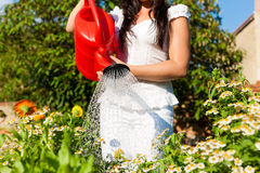 Gardening in summer - woman watering flowers Stock Photos