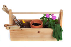 Gardening supplies including pots, flowers and tools Stock Images