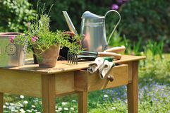 Gardening table Stock Photos