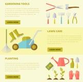 Gardening template. Vector gardening concept, template flyer. Big set of gardening tools. Rack pitchfork hose wheelbarrow watering can cutter fork lawn pruner Stock Photography
