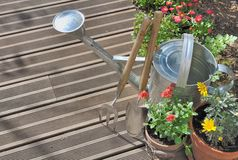Gardening on a terrace Stock Photo