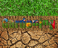Gardening text on soil and grass background Stock Photo