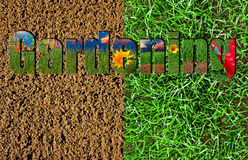 Gardening text on soil and grass background Stock Image
