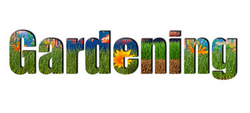Gardening text on a white background Stock Image