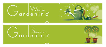Gardening Themed Banners Stock Images