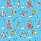 Gardening themed in kawaii style seamless background stock illustration