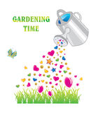Gardening time. Watering can with shiny hearts and stars, vector illustration Royalty Free Stock Images
