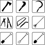 Gardening Tools 2. Garden tools black silhouettes. Usable as icons or for others graphic needs Royalty Free Stock Photos
