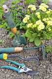 Gardening tools. On soil and flower in background royalty free stock photos