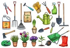 Free Gardening Tools And Flowers Royalty Free Stock Image - 111495336