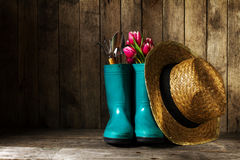 Gardening tools with blue rubber boots, straw hat, spring flower Stock Photo
