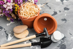 Gardening tools and clay terracotta flower pots Royalty Free Stock Images