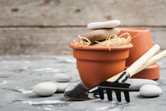 Gardening tools and clay terracotta flower pots Stock Photos