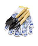 Gardening Tools And Cotton Gloves Royalty Free Stock Photos