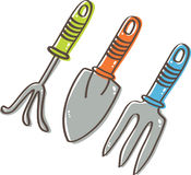 Gardening Tools: Cultivator, Trowel, Weed Fork Royalty Free Stock Photos