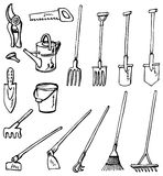 Gardening tools doodles Royalty Free Stock Images