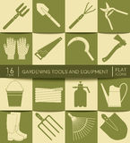 Gardening tools and equipment. Flat icons. Set of Agriculture tools Royalty Free Stock Images