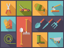 Gardening tools and equipment vector illustration. Stock Photos