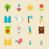 Gardening Tools Flat Objects Set with Shadow Royalty Free Stock Photography