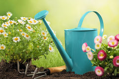 Gardening tools and flower. Outdoor gardening tools and flower Royalty Free Stock Photography