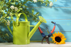 Gardening tools and flower. Outdoor gardening tool and flower Royalty Free Stock Photo