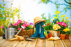 Gardening tools and flowers on the terrace. In the garden Stock Image