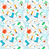 Gardening tools and fruits flat seamless background pattern Royalty Free Stock Images