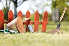 Gardening tools. In the garden Stock Photography