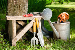 Gardening tools. In the garden. landscaping Stock Images