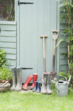 Gardening Tools By Garden Shed Stock Photography