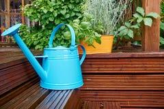 Gardening tools. On garden terrace Royalty Free Stock Image