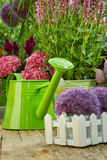 Gardening tools  in the garden. Gardening tools on the terrace in the garden Royalty Free Stock Photo
