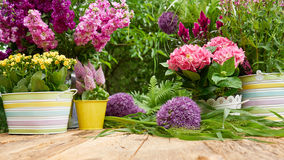 Gardening tools  in the garden. Gardening tools on the terrace in the garden Stock Image