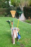 Gardening tools on grass Royalty Free Stock Photography